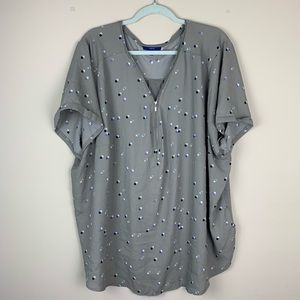 Apt. 9 Short Sleeved Patterned Blouse Size 3X